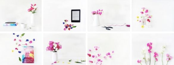 eight image square that include items such as white vases, a tablet, and pink flowers