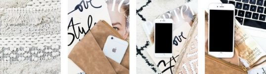 four image squares featuring a textile, a suede wallet with an iphone in it, an iphone on a magazine, and an iphone below an apple keyboard