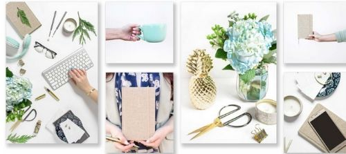 features six image squares that shows green, turquoise, and gold stationary and miscellaneous items