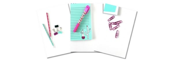 turquoise, purple, and black stationary items including pens, paperclips, and notepads