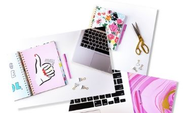 three images stacked on top of one another including one of a notepad and macbook keyboard, notepad and scissors in the next image below, and a macbook keyboard above a pink backdrop at the bottom