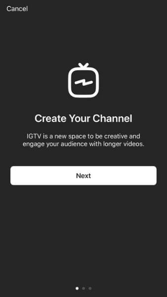 how to use instagram tv - create a channel menu