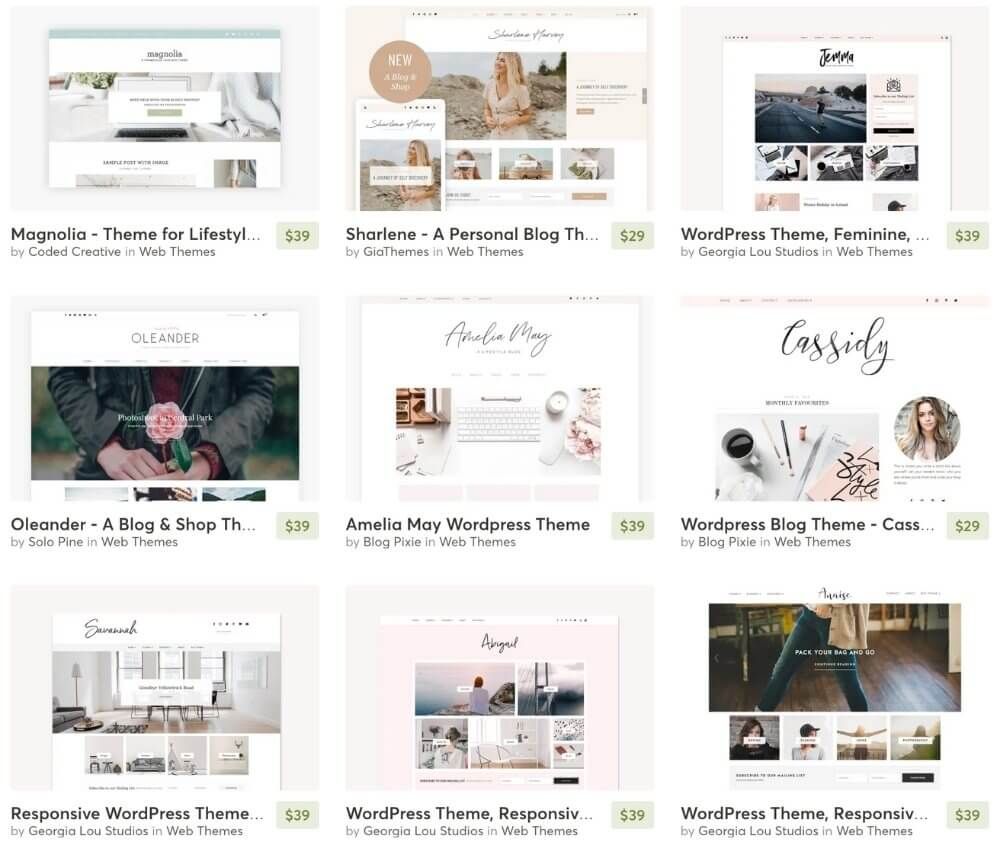 variety of wordpress blog themes from creative market