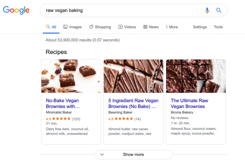 screenshot of google search results showing 53.9 million results for raw vegan baking