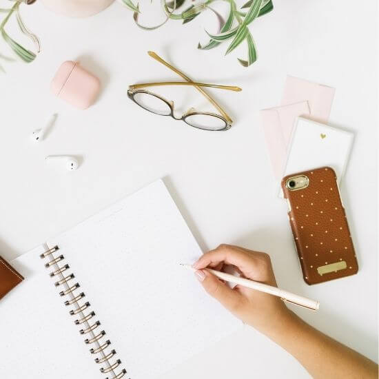 top down photo of stationary - instagram photo props for office decor