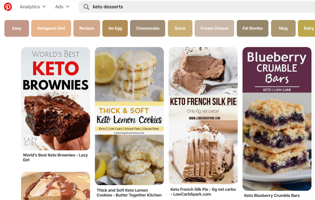 shows results for keto desserts pinterest search with related keywords and top pins displayed