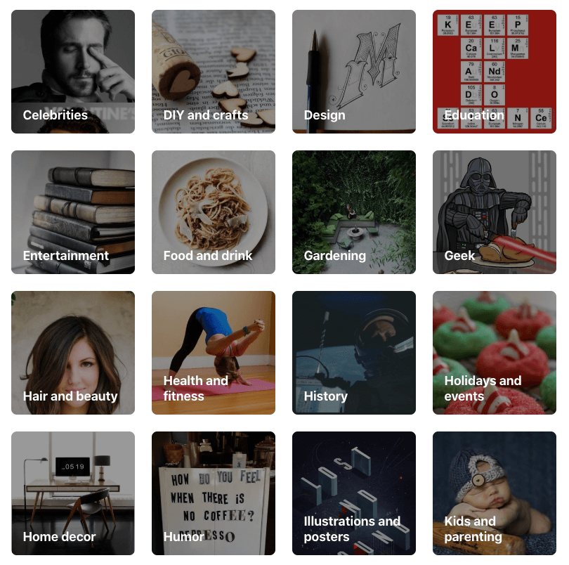 shows square images indicating popular pinterest categories as determined by pinterest