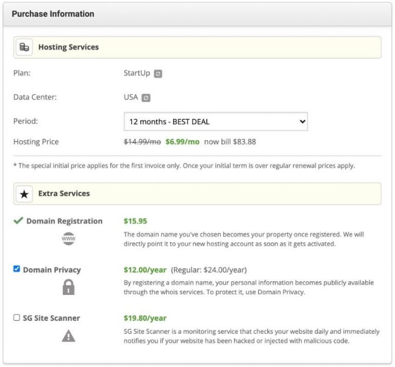 screenshot of purchase information window showing hosting services and extra services like domain privacy and sg site scanner