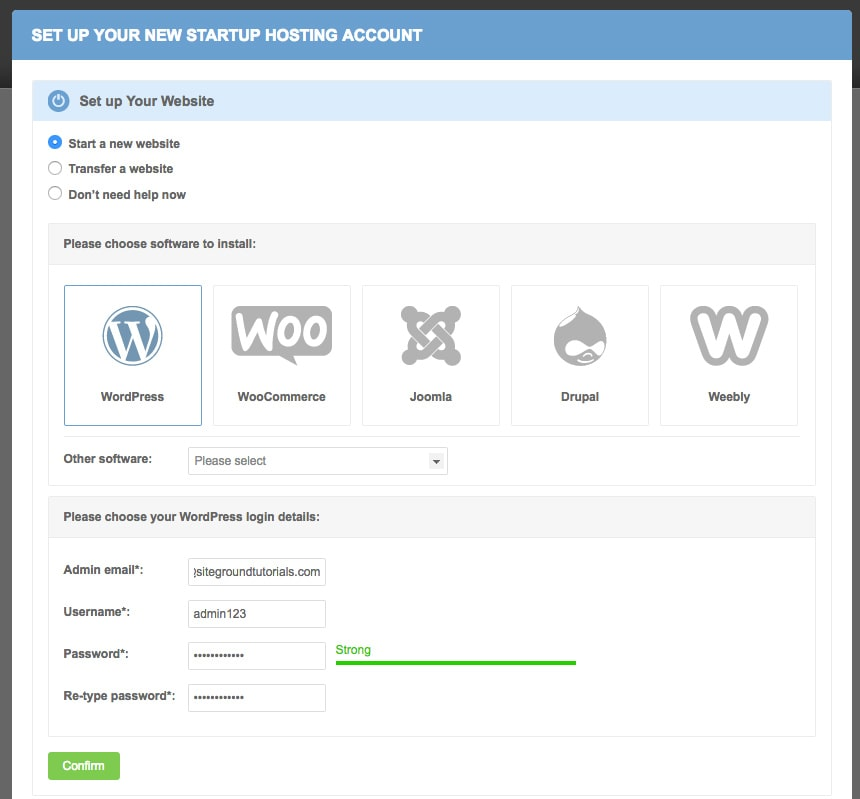 shows wordpress one click installation screen as available on siteground