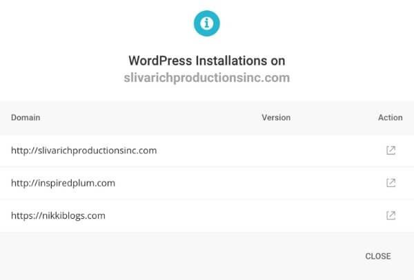 screenshot of my siteground account websites tab showing wordpress installations
