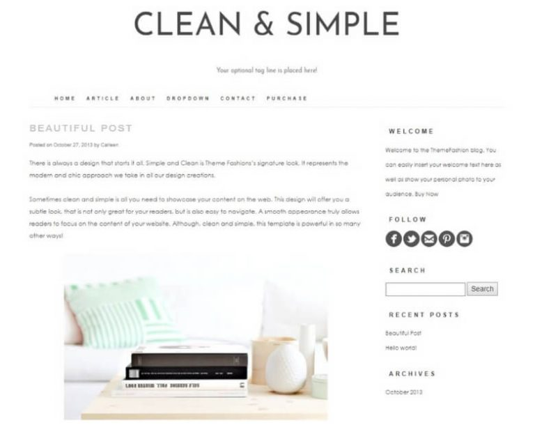 clean and simple wordpress blog theme from creative market