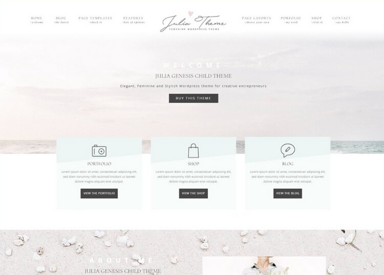 julia feminine wordpress theme from creative market