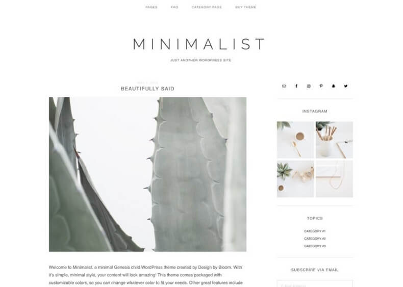 minimalist wordpress blog theme from creative market