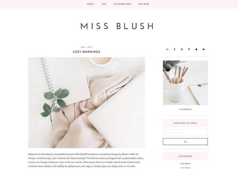 miss blush feminine wordpress theme from creative market