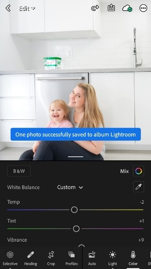 text reads one photo successfully saved to album lightroom over edited image