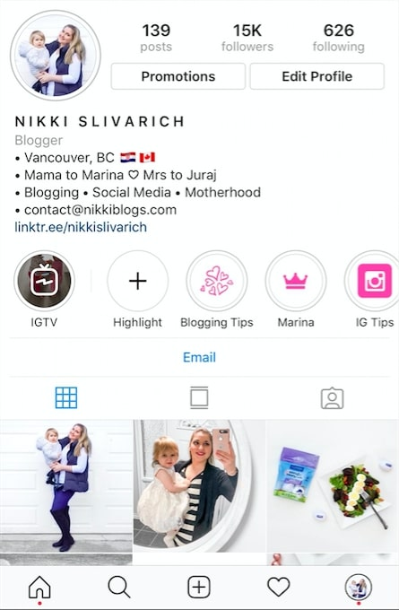 screenshot of instagram profile showing nikki slivarich bio, highlights, and first three photos
