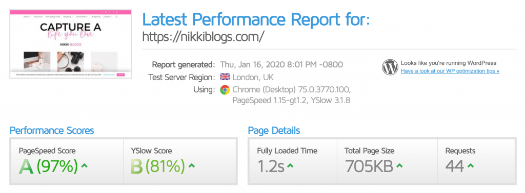 screenshot of nikki blogs gtmetrix score of 1.2 seconds