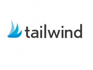 tailwind pinterest application logo in black font and blue arrows