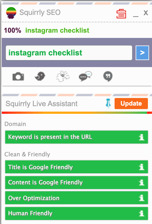 screen shot of part of squirrly seo live assistant