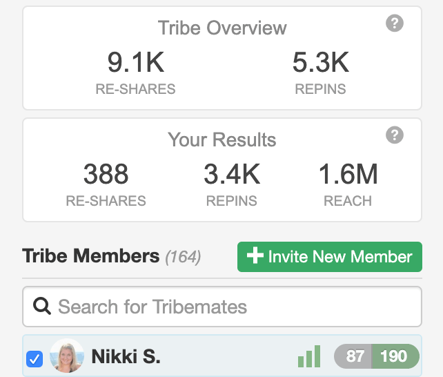 screen shot of nikki blogs great tribe results