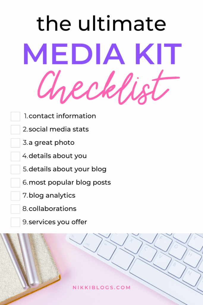 text reads the ultimate media kit checklist