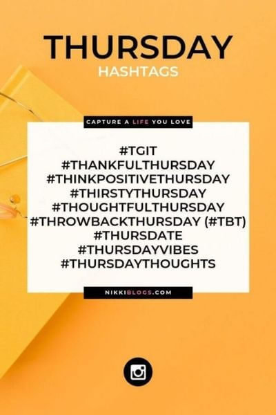 text reads thursday hashtags - catchy names for days of the week hashtags