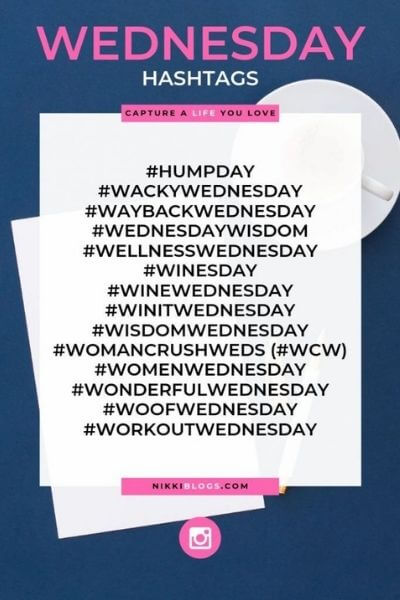 text reads wednesday hashtags - catchy names for days of the week hashtags