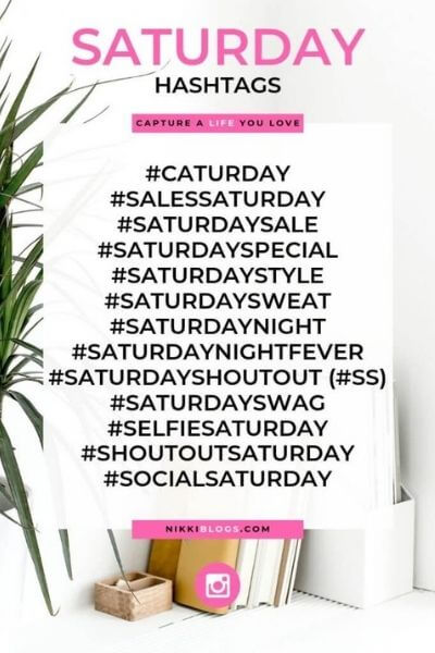 text reads saturday hashtags - catchy names for days of the week hashtags