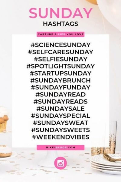 text reads sunday hashtags - catchy names for days of the week hashtags