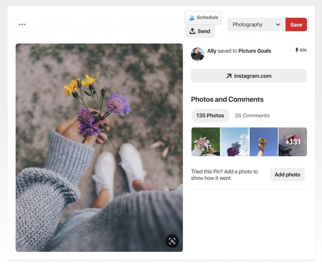 image shows an instagram photo of a top down camera view of a woman's hand holding flowers above her feet with 89k saves on Pinterest