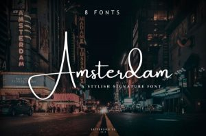 text reads amsterdam in white font against an evening photograph of the city