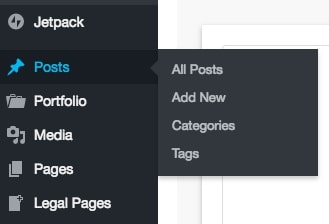 screenshot of wordpress sidebar showing posts item highlighted and displaying all posts, add new, categories, and tags options