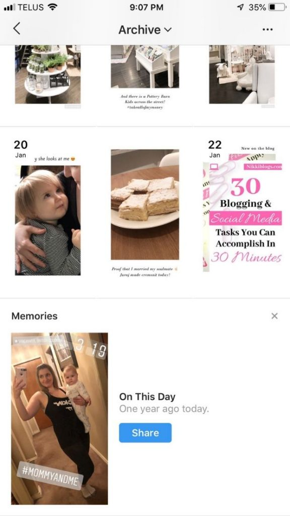 nikkislivarich instagram story archive screen displaying most recent posts