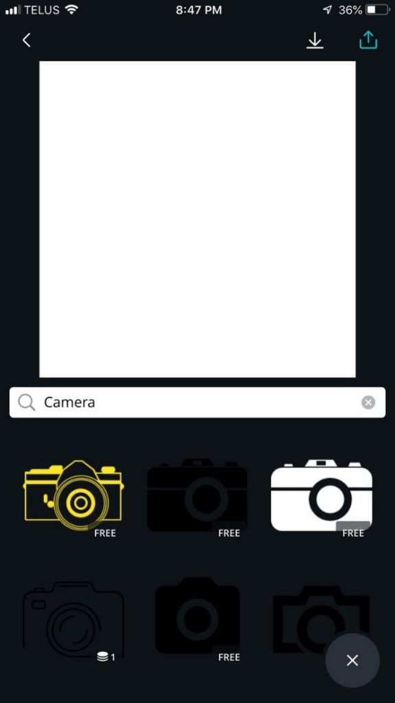 search results for camera in canva are displayed at the bottom of the screen