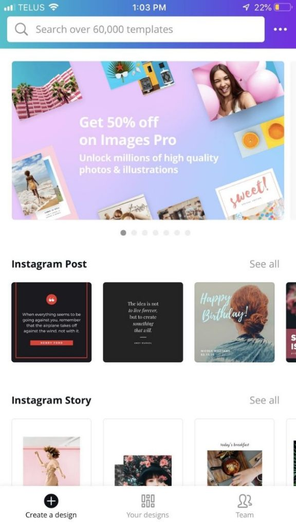 canva create a design screen as displayed on an iphone