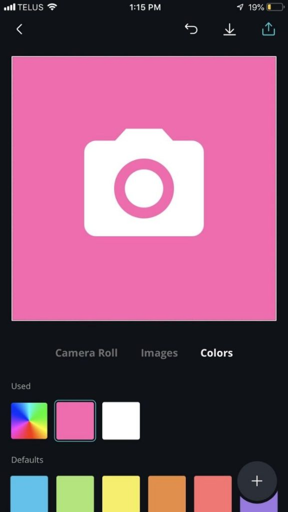 pink background with the camera icon now shown in white on canva design app