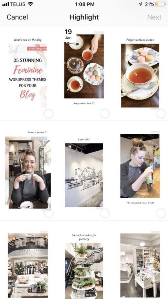 nikkislivarich instagram recent stories as shown in highlight addition section