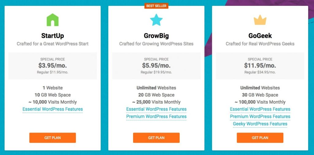 startup, growbig, and gogeek plans at siteground are compared side by side with prices and features listed below each
