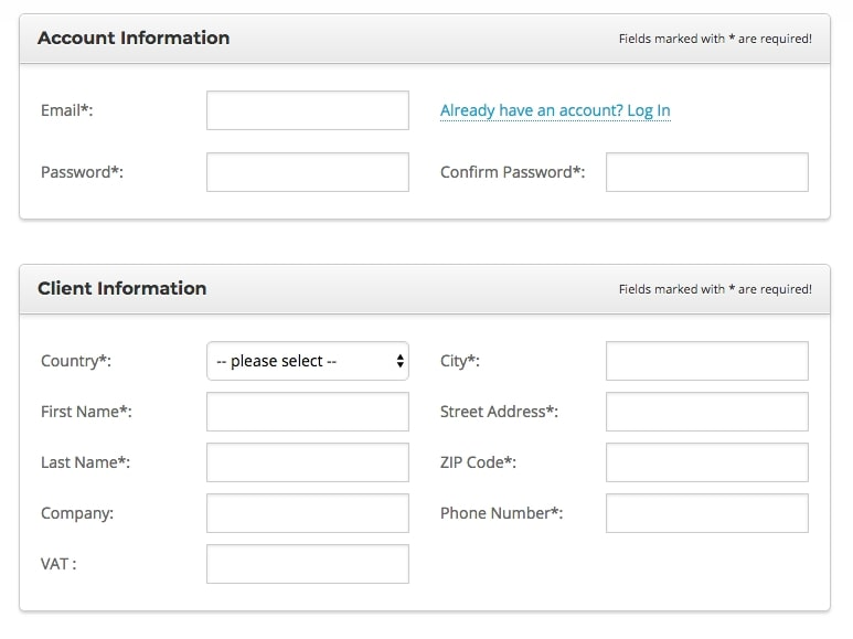 screenshot of siteground account and client information fields shown as in hosting purchase process