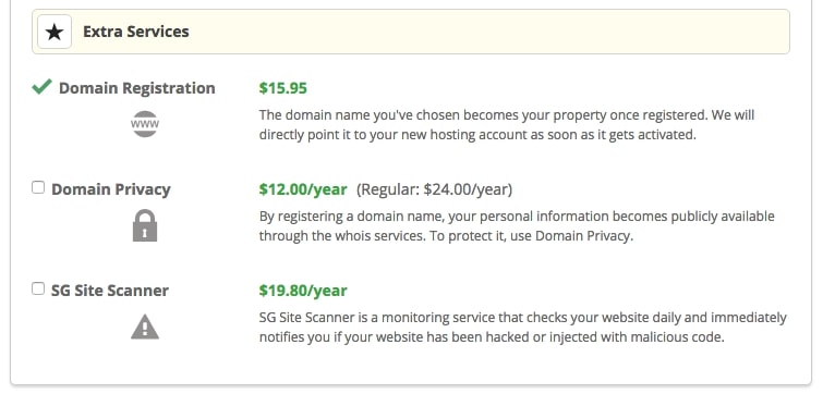 screenshot of siteground extra services shown as in hosting purchase process