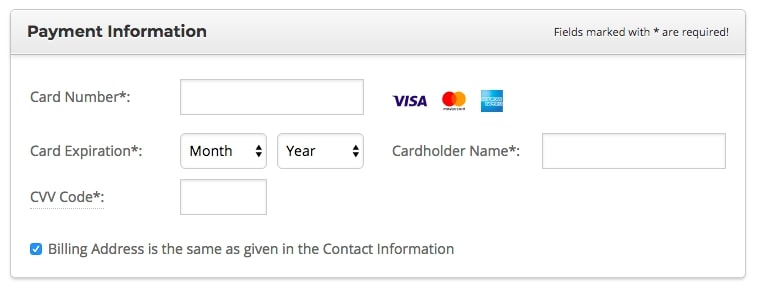 screenshot of siteground payment information fields shown as in hosting purchase process