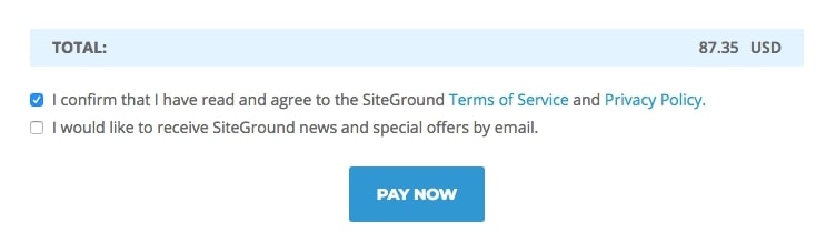 screenshot of siteground total field shown as in hosting purchase process
