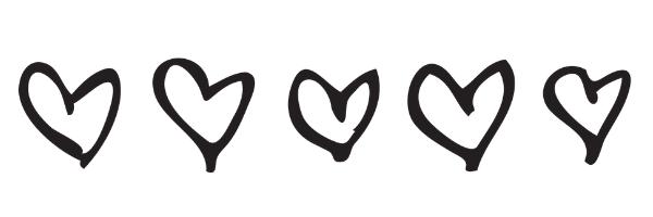 5 hand drawn black hearts as a banner