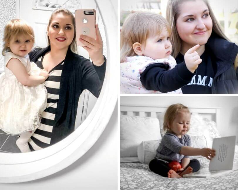 three images that show nikki with her daughter to the left and far right side and her daughter eating an apple in the bottom right corner