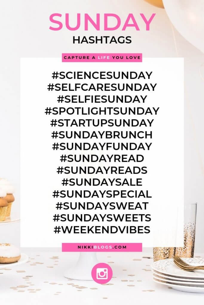 text reads sunday hashtags followed by 14 popular choices