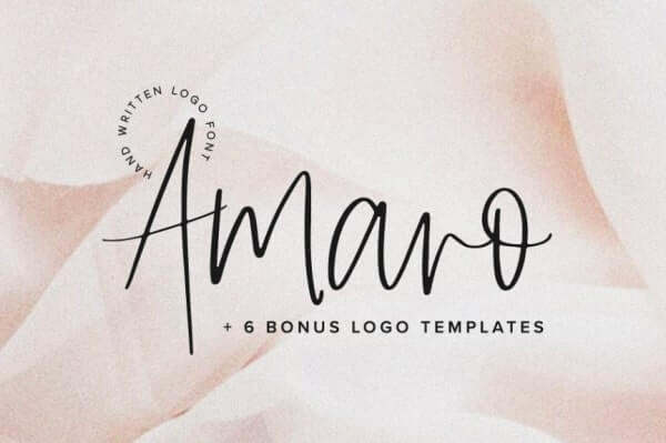 text reads amaro + 6 bonus logo templates against a rose gold background