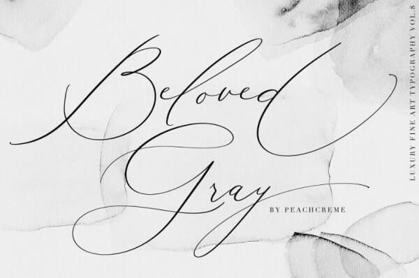 text reads beloved gray in black font against a grey background