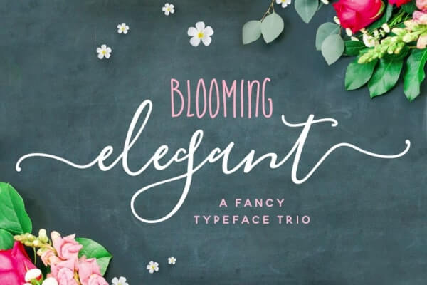 text reads blooming elegant a fancy typeface trio against green blue background