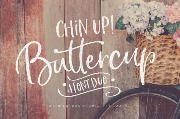 text reads chin up! buttercup a font duo against wood panel backdrop