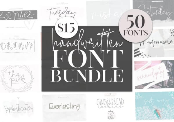 text reads handwritten font bundle 50 fonts with $15 price above black square centre